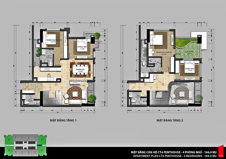 Mặt bằng căn hộ CT3 Penthouse Iris Garden – 4 phòng ngủ - diện tích 184,9m2