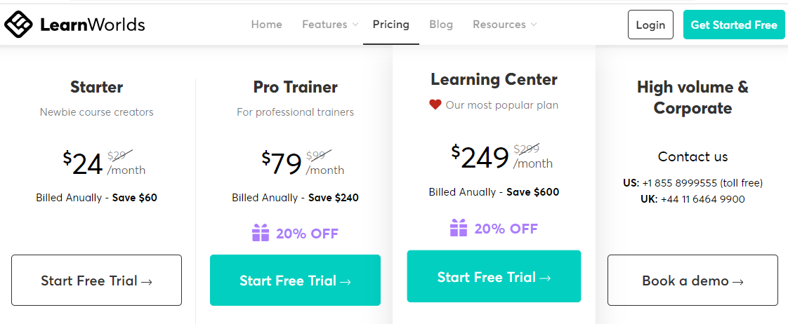 Pricing Page - LearnWorlds