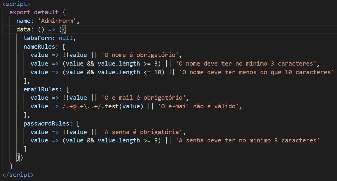 Código JavaScript no componente AdminForm