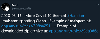 An example of a Coronavirus Disease 2019 (COVID)-19 themed Hancitor malware drop in a screenshot from the Twitter account @malware_traffic March 16, 2020.