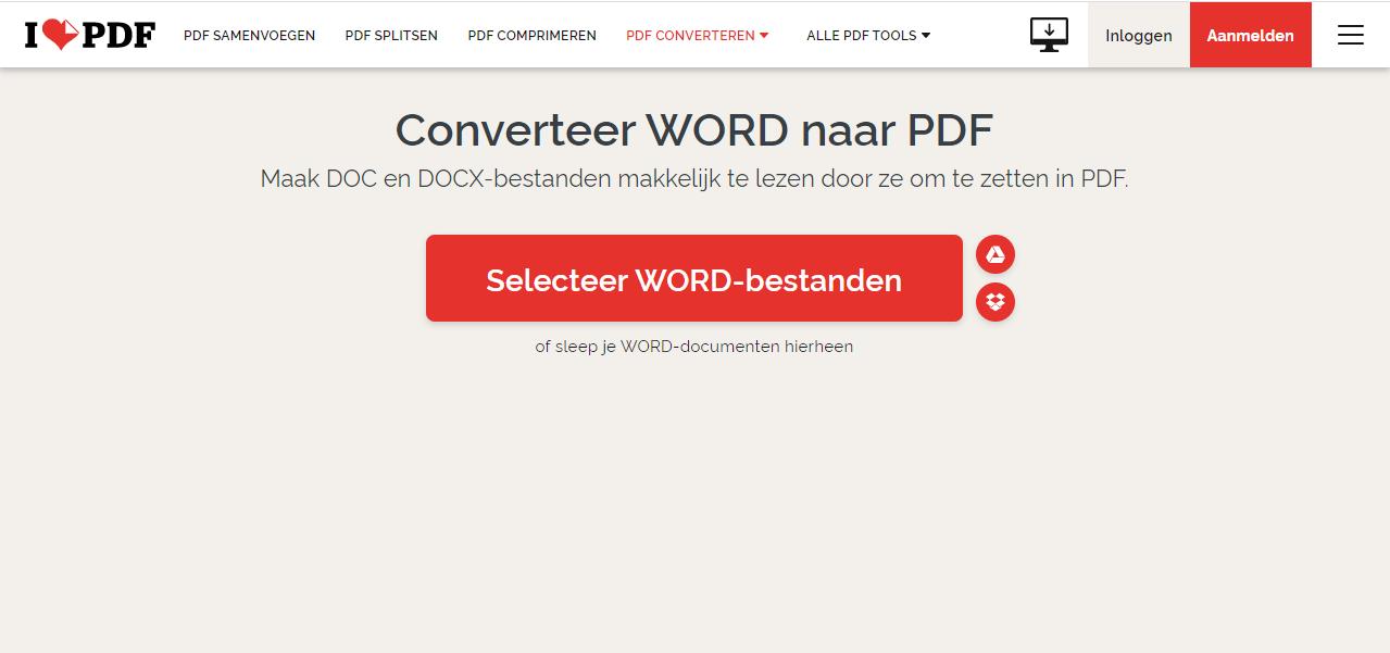 word naar pdf via een online tool