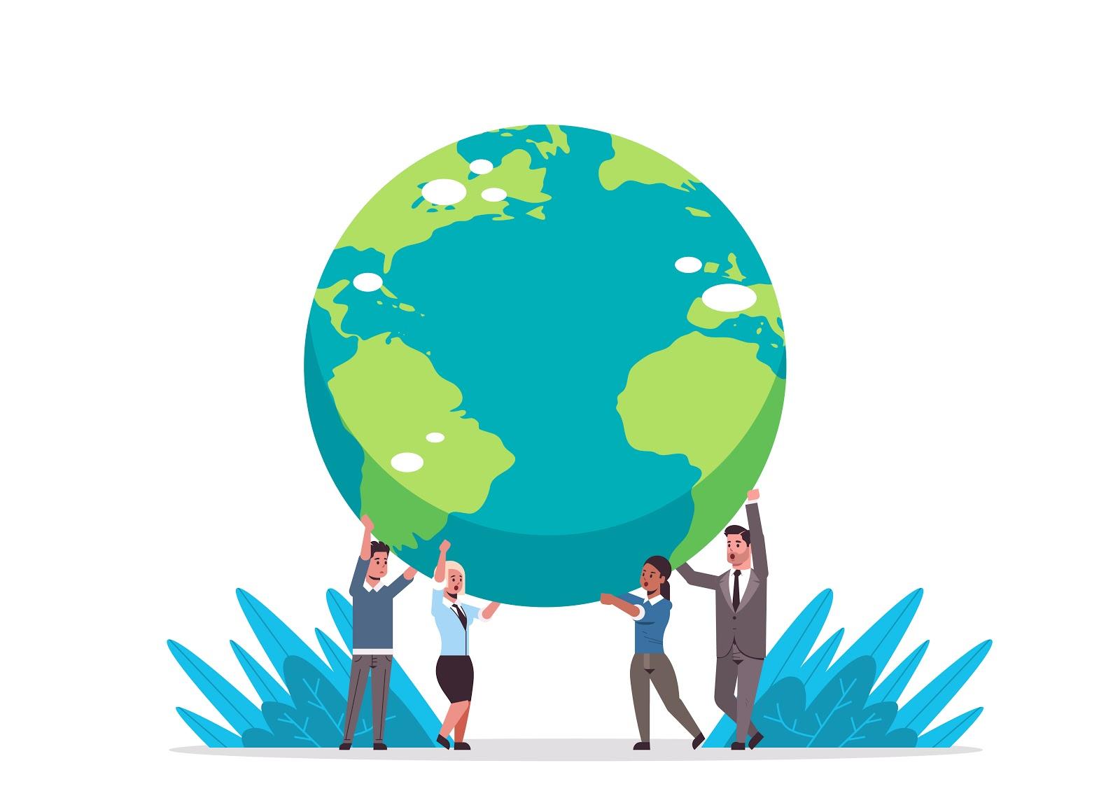 ilustração de pessoas segurando o planeta