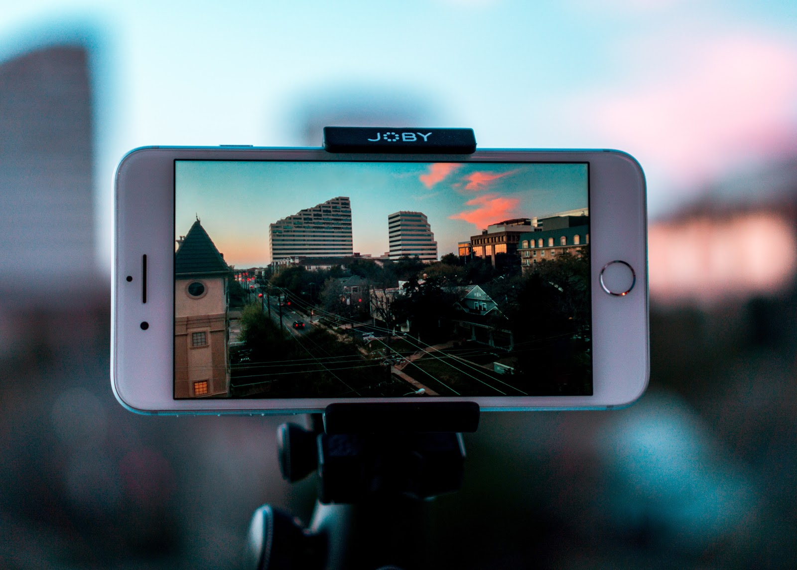iPhone taking a picture of Dallas, Texas.