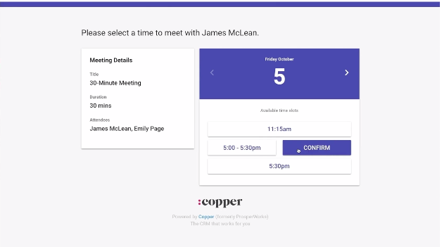 Copper's meeting scheduler