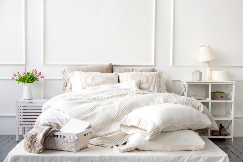 white bedding and bedroom