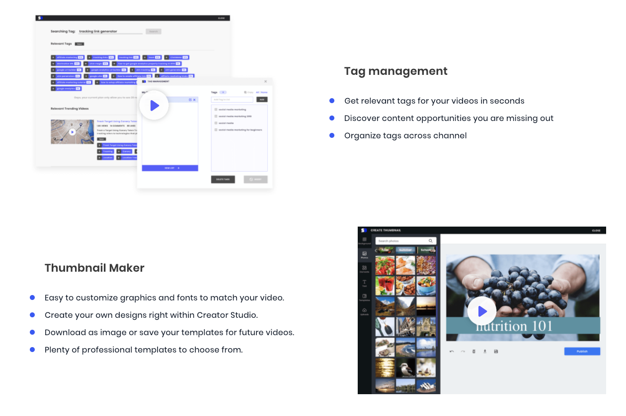 Manage video tags and create video thumbnails with SocialBook YouTube builder.