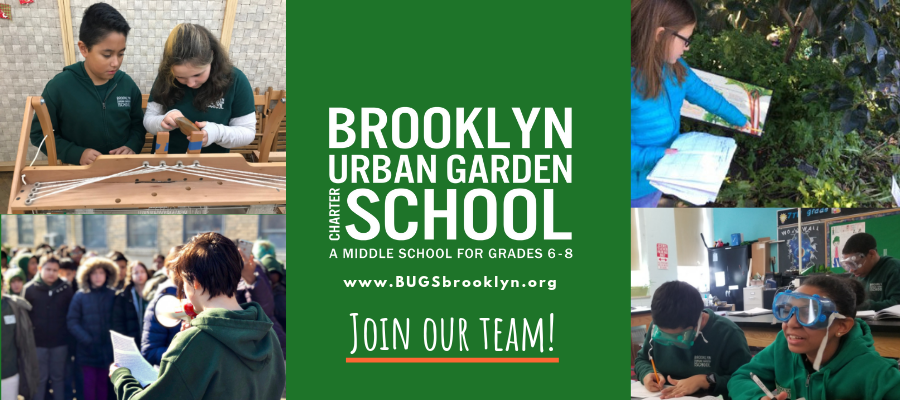 Ad for Brooklyn Urban Garden Charter School, including images of happy children involved in a variety of science-based activities