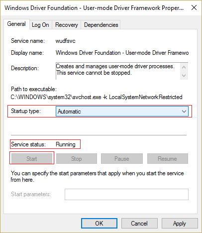 "Launch the ""Windows Driver Foundation"" Service"