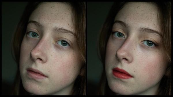 Montagem com 2 fotos da mesma mulher mostrando o antes e depois da edição da maquiagem Glitz do AirBrush