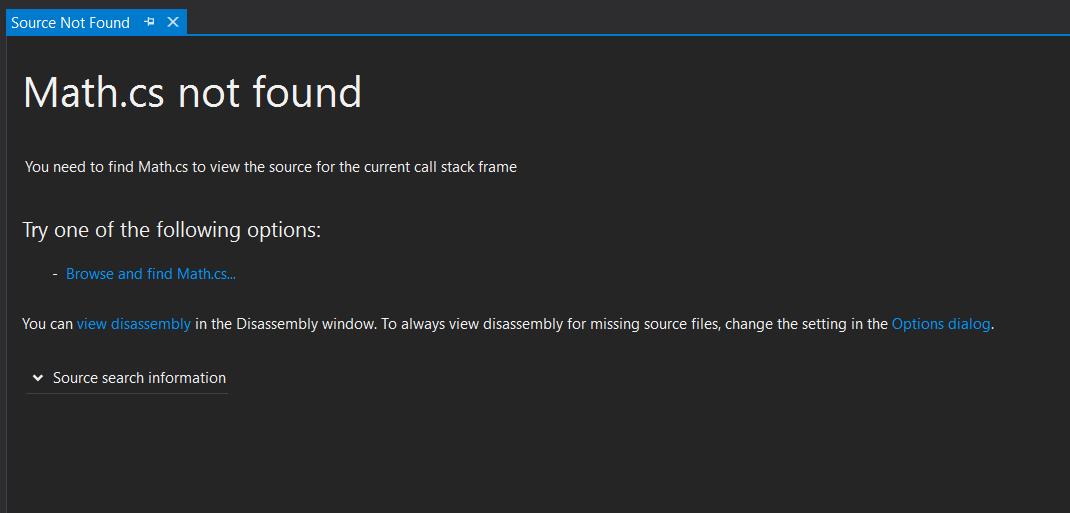 Screenshot of Source not found message