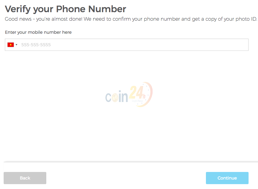 Xác minh số điện thoại ví XLM trên Blockchain.com