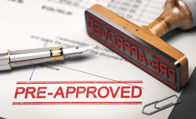 A pre-approval stamp on a loan