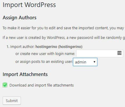 wordpress importar configurações de autor