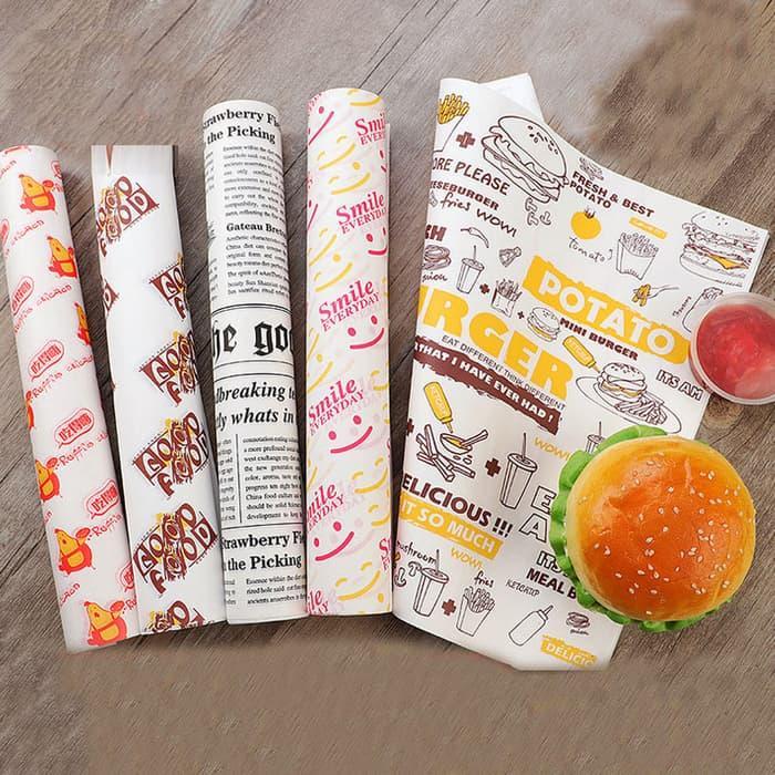 100 pcs Oil-proof Wax Paper Food Wrapper