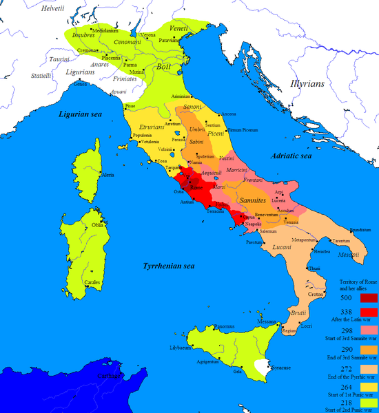 Map of Roman expansion from the center of Italy north and south to encompass all of Italy and the islands of Sardinia, Corsica, and Sicily.