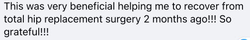 Facebook positive testimonial on Sunrider product after surgery