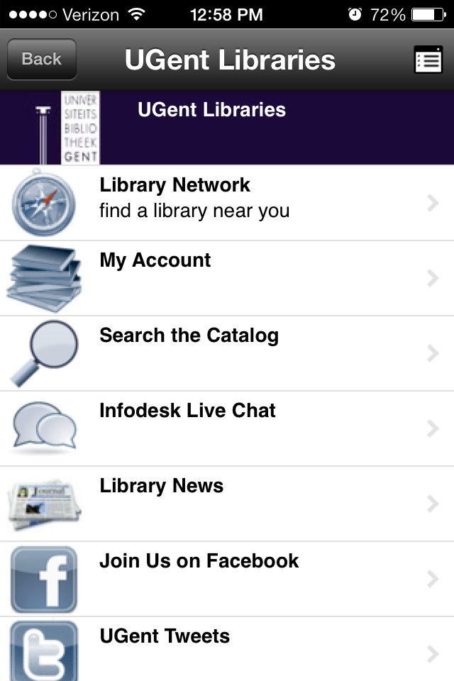 Native Mobile Apps for Libraries Example of UB Gent