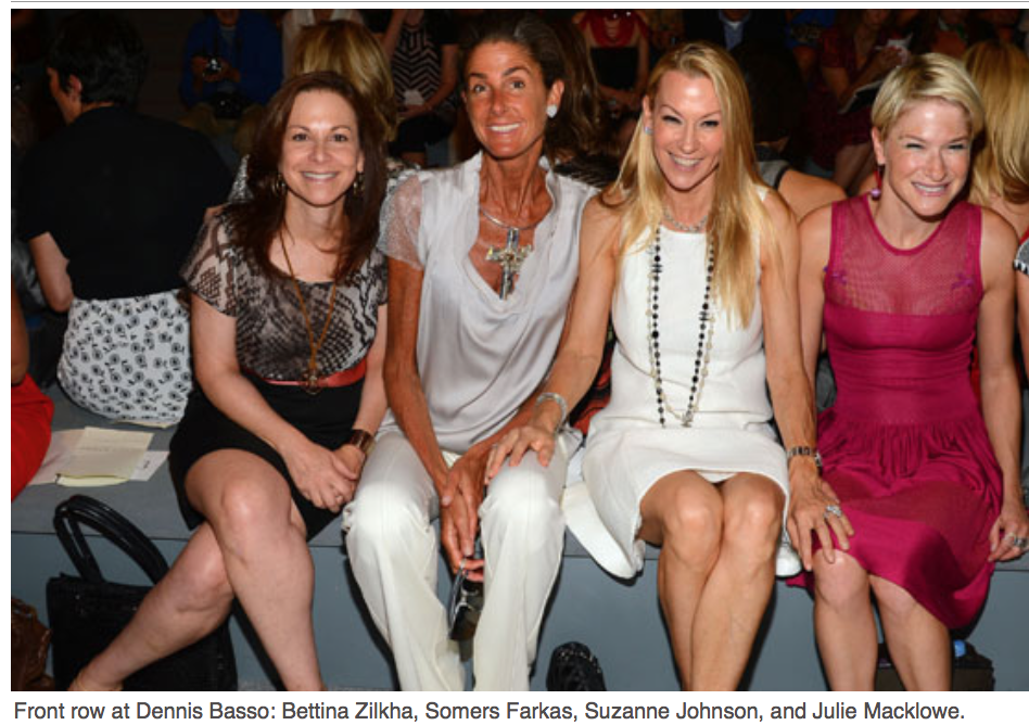 Karen Klopp, Hilary Dick article for New York Social Diary, What to wear to New York Fashion Week Dennis Basso show,Bettina Zilkha, Somers Farkas, Suzanne Johnson, Julie Macklowe
