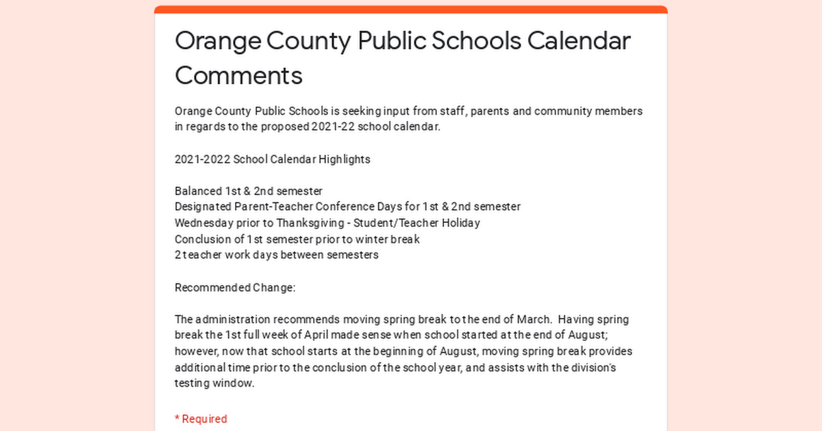 Orange County Public Schools Calendar Comments