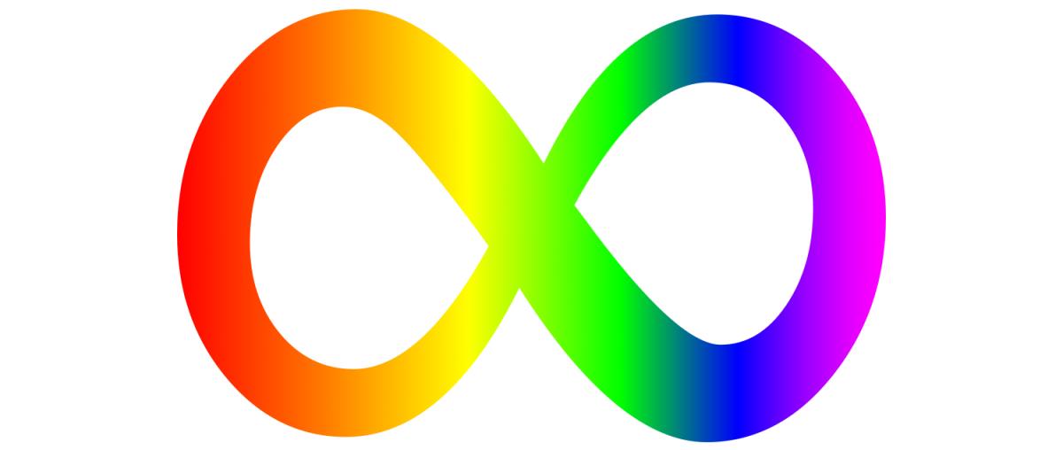 Símbolos do autismo: o logotipo da neurodiversidade tem o formato de um 8 deitado (msmo símbolo do infinito) e é das cores do arco-íris, começando vermelho do lado esquerdo, passando pelas cores laranja, amarelo, verde, azul e finalizando com um lilás clarinho
