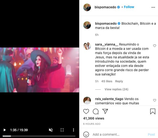 vídeo publicado no perfil de Bispo Edir Macedo