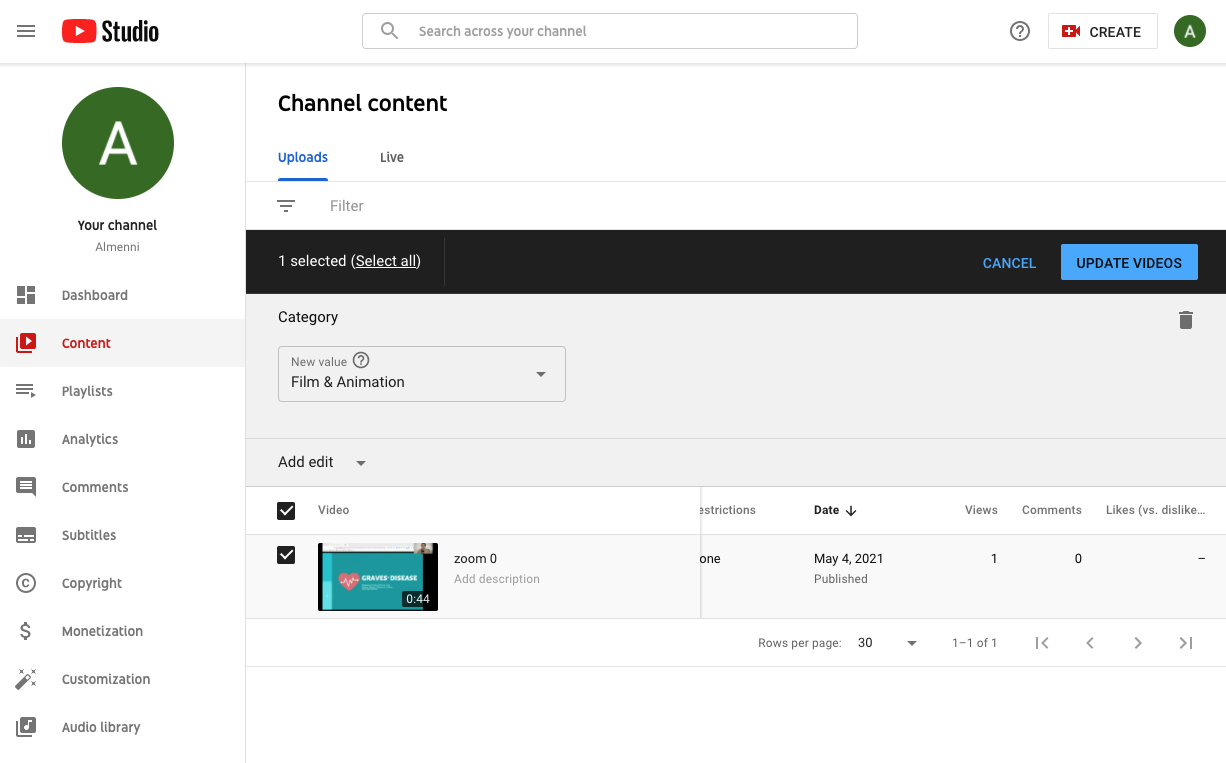 how to sort categories for a youtube video