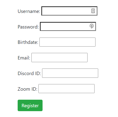 User registration form with several fields including username and password