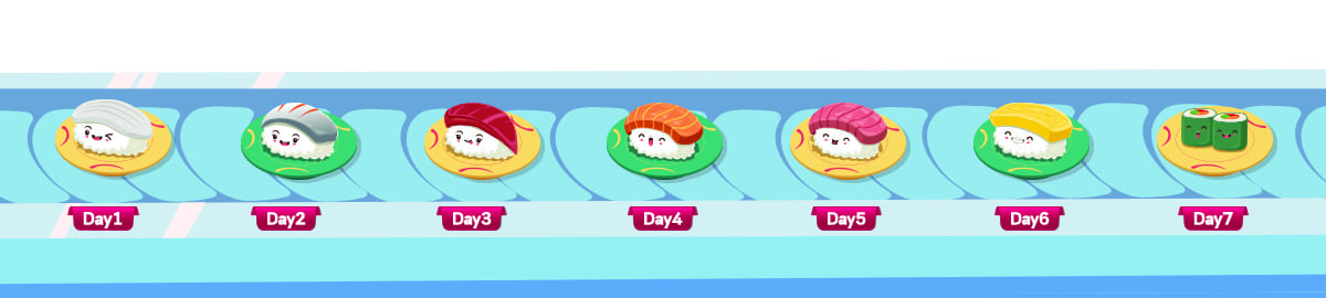 The 7 sushi on sushi belt conveyor represent each day of learning Hiragana with Oh! Easy Hiragana book.