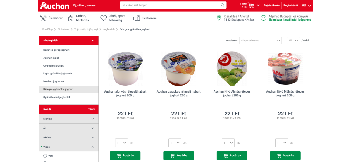 Breadcrumb navigáció az Auchan webáruházában
