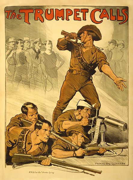 "Poster of Australian soldiers with the slogan ""the trumpet calls."""