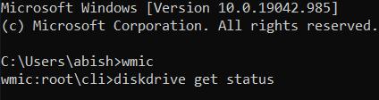 """type in """"diskdrive get status""""."""