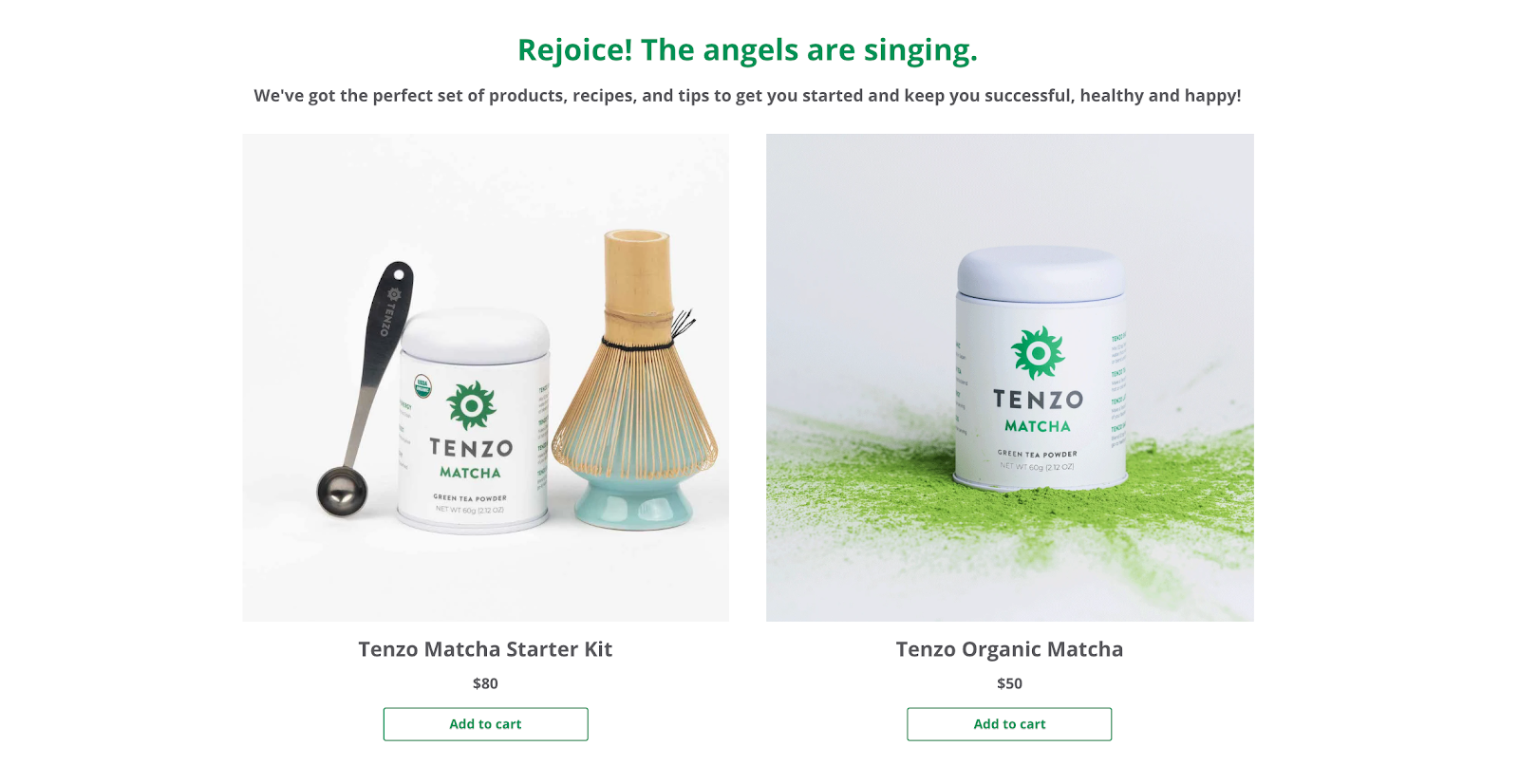 Tenzo Tea results page for beginners