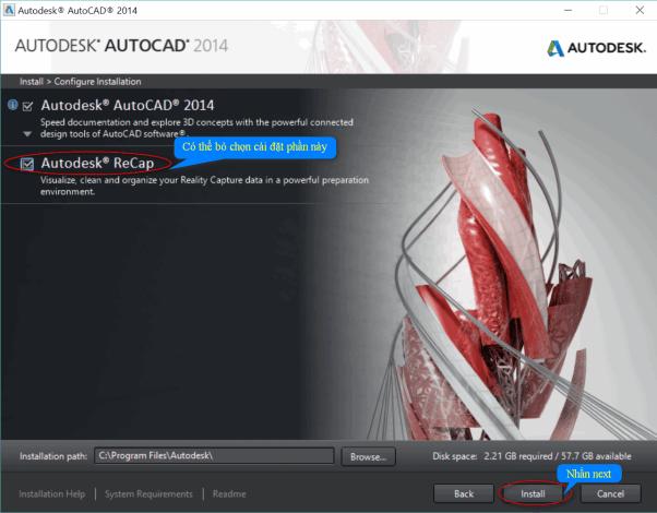 bỏ chọn autodesk recap