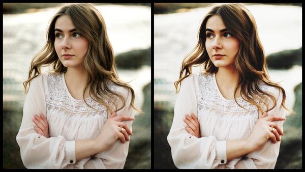 antes e depois da foto de uma mulher morena sendo que uma das fotos está sendo utilizado o filtro Radient do AirBrush