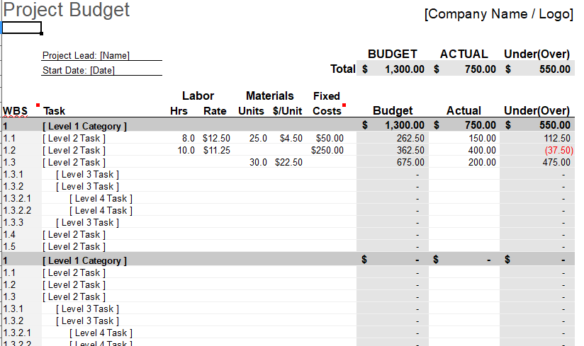 Project expense template