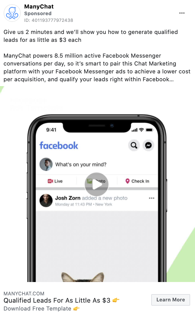 ManyChat Facebook CTA example
