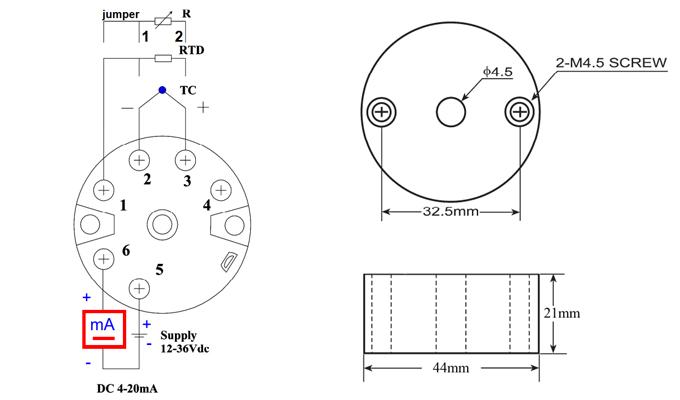 Bộ chuyển đổi Pt100, K sang 4-20mA, 0-10VDC, R, PT1000