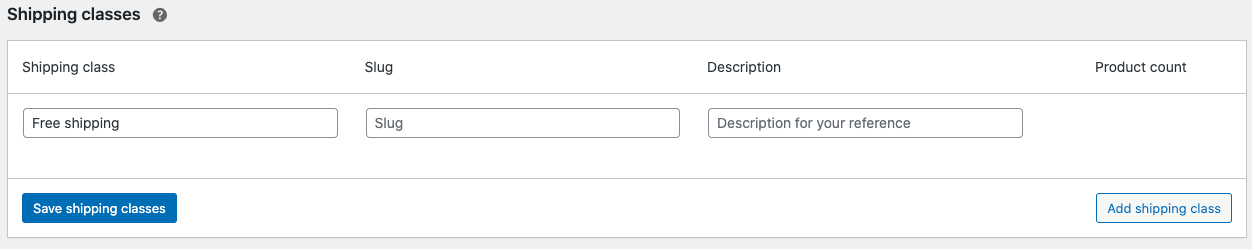 WooCommerce settings to add a new shipping class