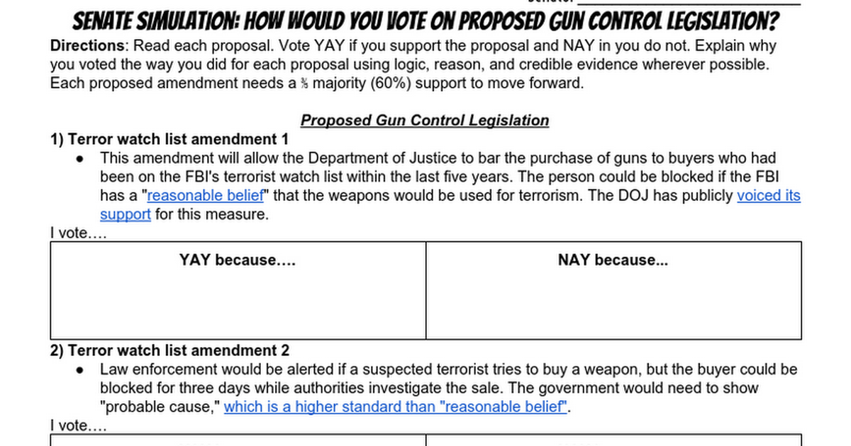 Senate Simulation How Would You Vote On Proposed Gun Control