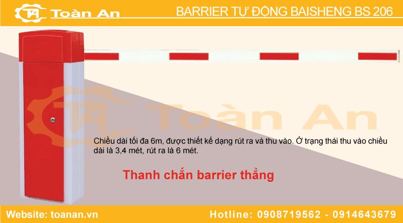 Barrier tự động bs 206 sử dụng thanh chắn thẳng.