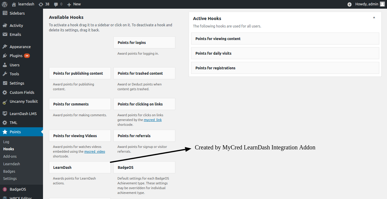 LearnDash myCRED integration addon