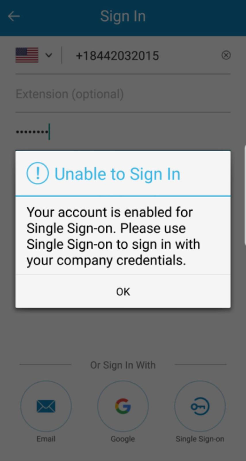 pop message stating sso login only