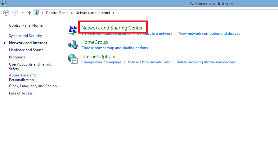 Click on the Network & Sharing Center.