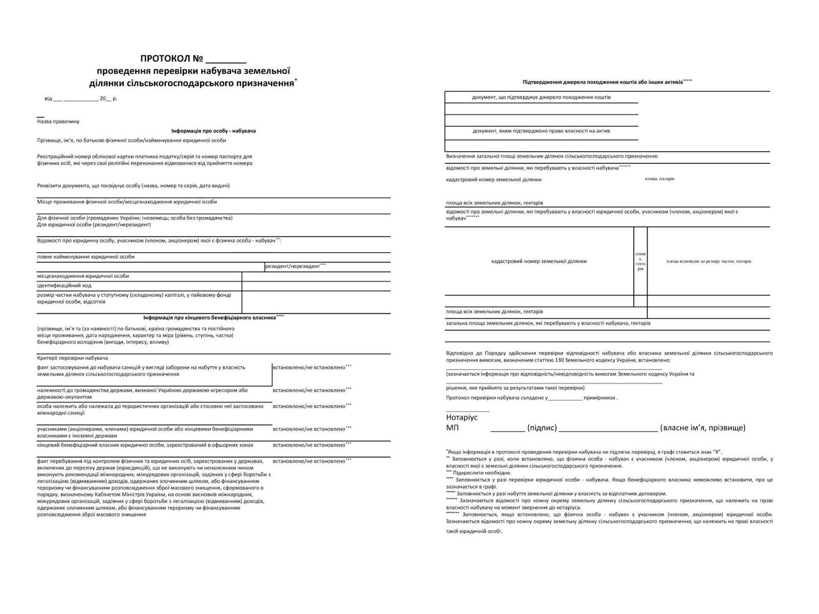 Протокол перевірки покупця землі в Україні BROK