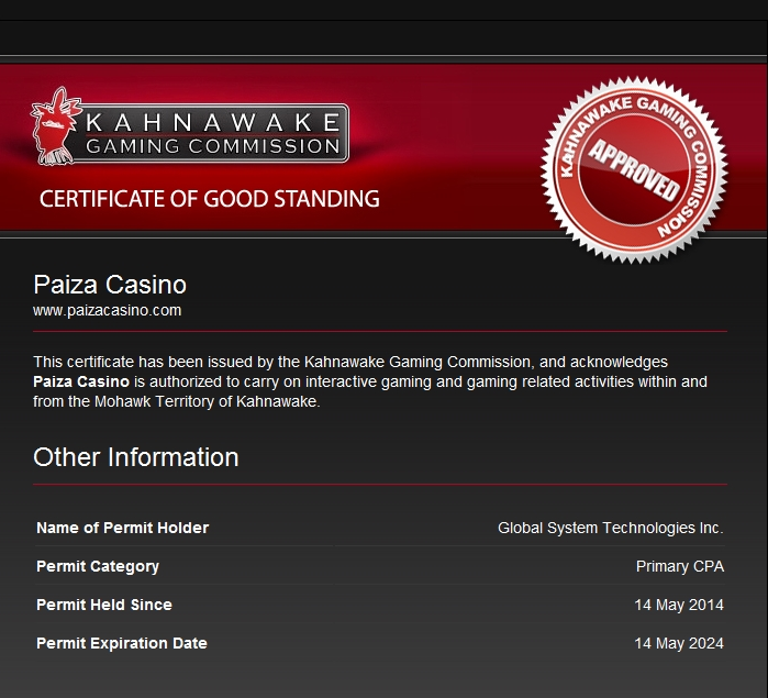 paiza casino license