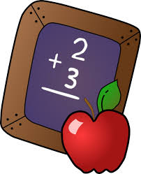 Image of chalkboard and an apple illustrating Math - 1