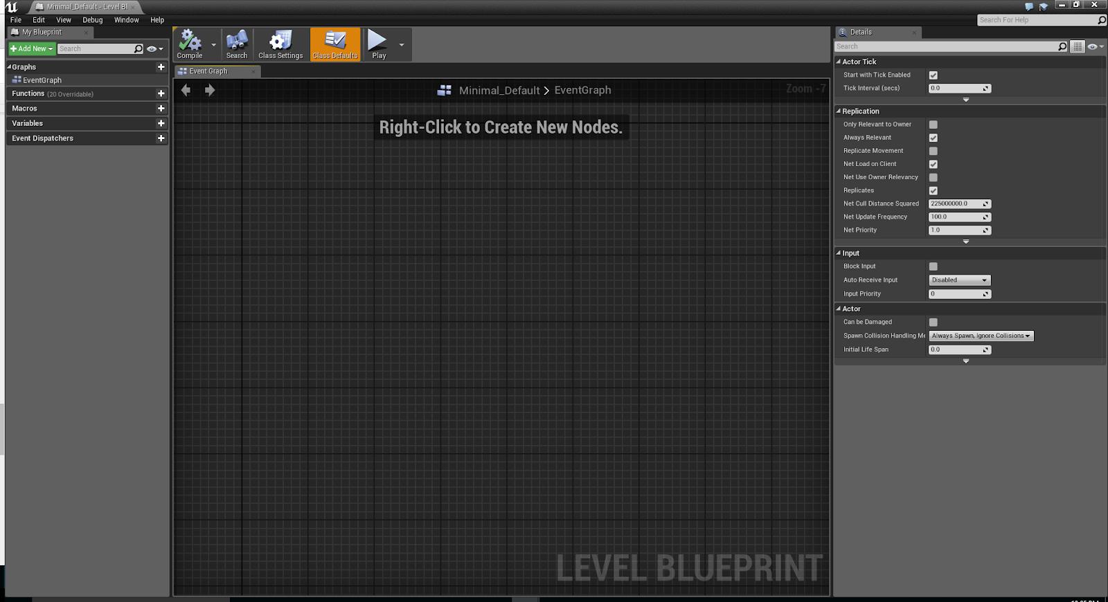 Gamasutra dev janas blog ue4 state based level music system basics fig 21b the empty level blueprint window malvernweather Image collections