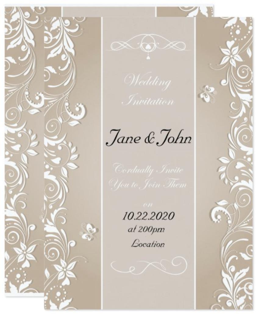 cut out modern wedding invitation