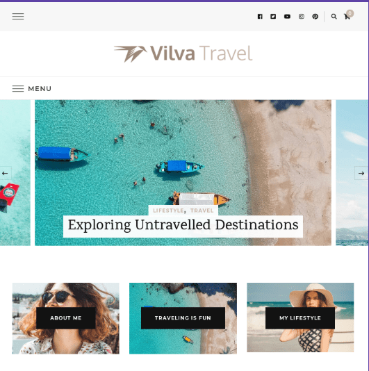 Vilva travel blog theme