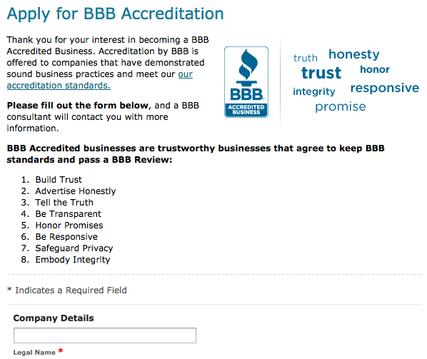 bbb accreditation form